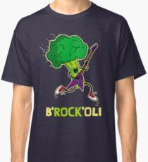 Funny cartoon broccoli playing electric guitar Classic T-Shirt
