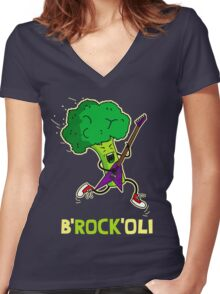 Funny cartoon broccoli playing electric guitar Women's Fitted V-Neck T-Shirt