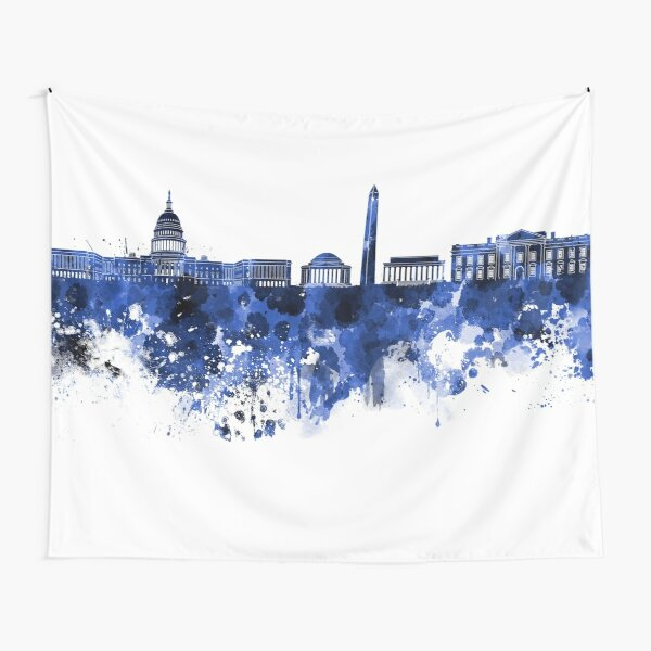 Washington DC skyline in blue watercolor on white background  Tapestry