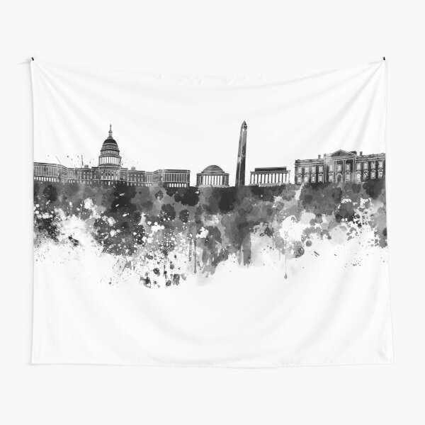 Washington DC skyline in black watercolor on white background  Tapestry