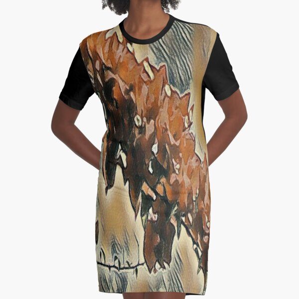 Rose Tree Art Graphic T-Shirt Dress
