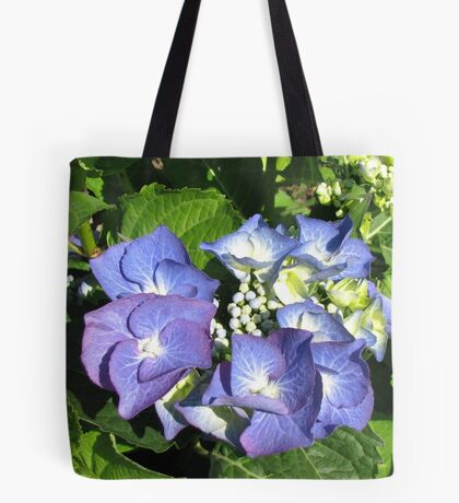 Beautifully Blue - Sunlit Hydrangea Blossom Tote Bag