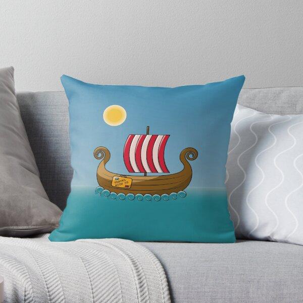 A wooden drakkar. Throw Pillow