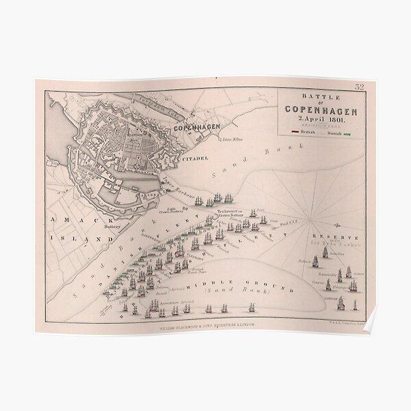 Old Battle of Copenhagen (1801) Vintage War of the Second Coalition Atlas Poster