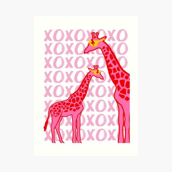 giraffe xoxo Art Print