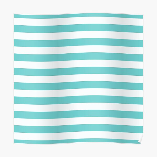 Teal Blue with White Horizontal Stripes Poster