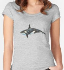 Orca on blue Women's Fitted Scoop T-Shirt