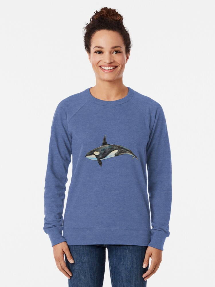 Alternate view of Orca on blue Lightweight Sweatshirt