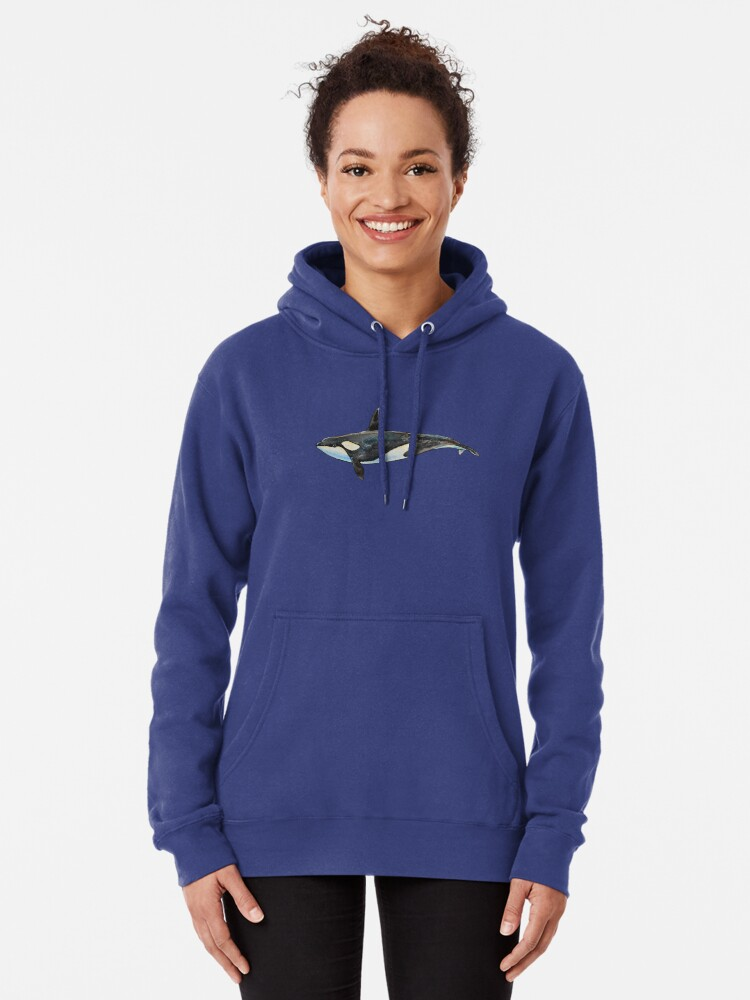 Alternate view of Orca on blue Pullover Hoodie
