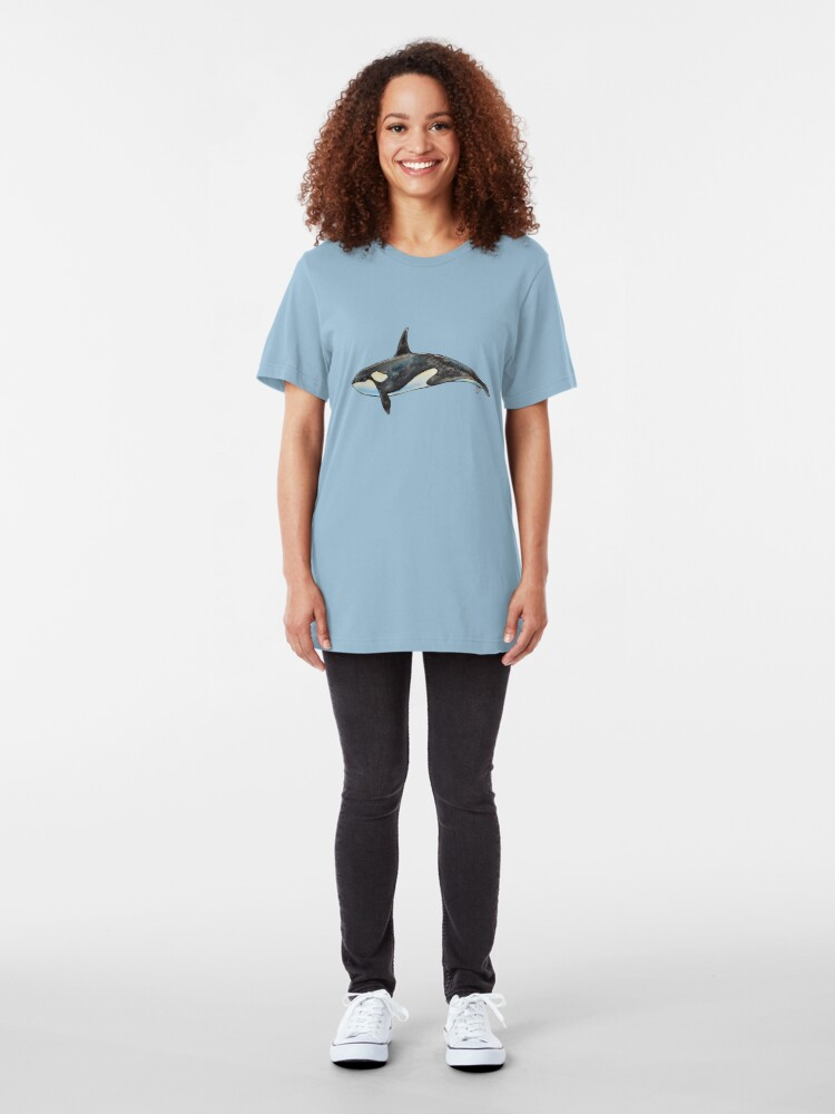 Alternate view of Orca on blue Slim Fit T-Shirt