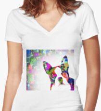 Dog 135 Boston Terrier Women's Fitted V-Neck T-Shirt