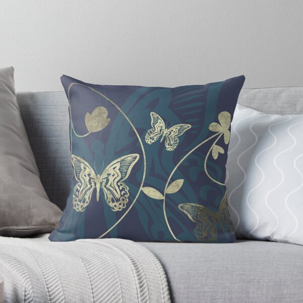 Beautiful intricate butterfly pattern for lovers of butterflies. Navy blue and gold - Caroline Laursen original Throw Pillow