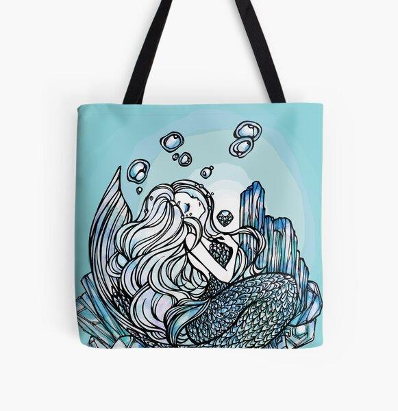 Aquamarine Mermaid - angel stone, beauty symbol, healing, birth gem stone All Over Print Tote Bag