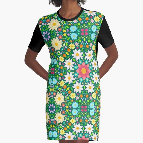 Flower Pattern Circular Design Graphic T-Shirt Dress