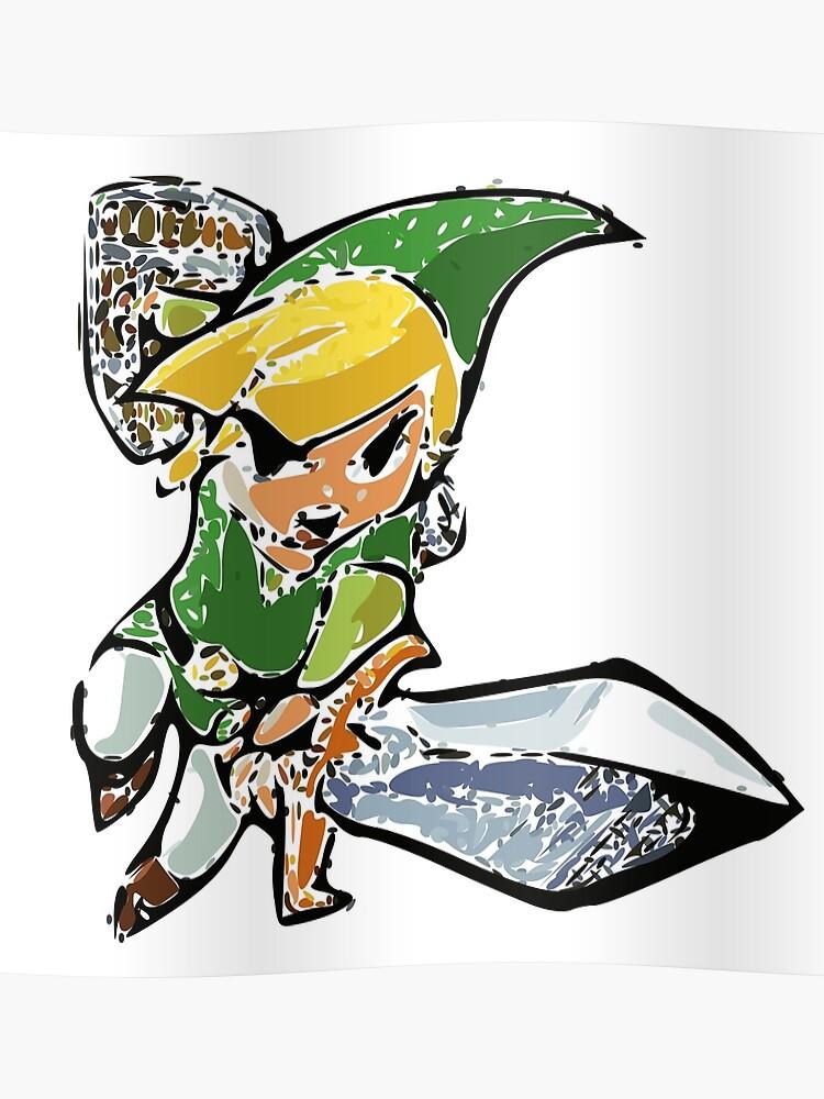 Legend Of Zelda Wind Waker Link Vectorized Poster