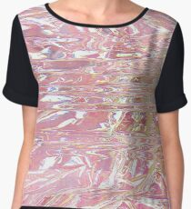 Pink Holographic Wrap Chiffon Top