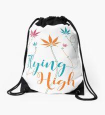 Flying High on Cannabis Drawstring Bag