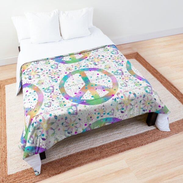 Flower Power Peace Dots Comforter