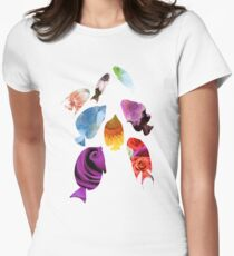 Fish shaped Flowers Womens Fitted T-Shirt