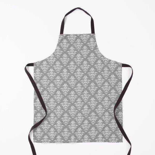 Damask Pattern | Grey and White | Vintage Patterns |  Apron