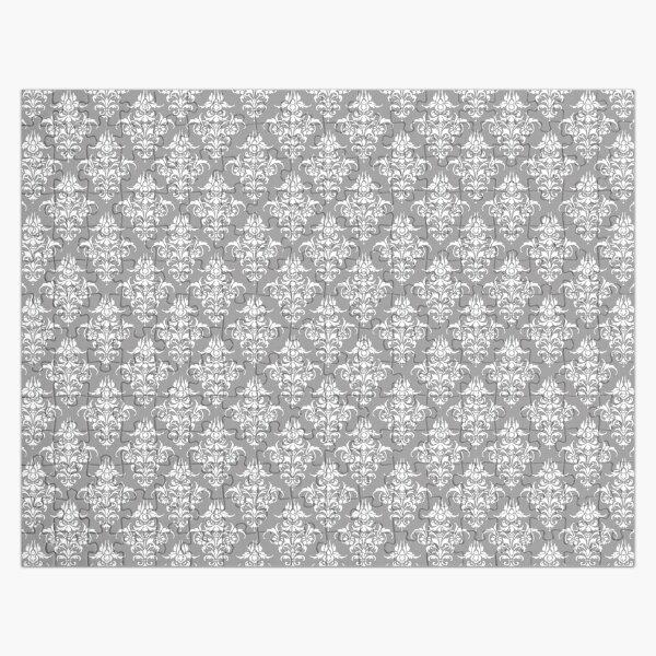 Damask Pattern | Grey and White | Vintage Patterns |  Jigsaw Puzzle