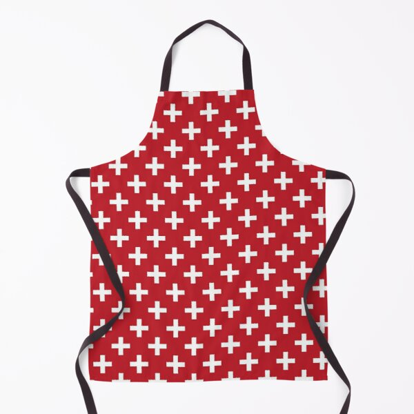 Crosses | Criss Cross | Swiss Cross | Hygge | Scandi | Plus Sign | Red and White |  Apron