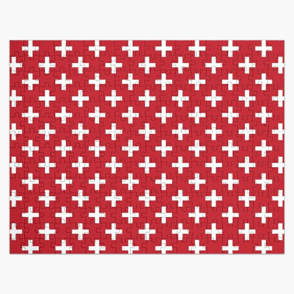 Crosses | Criss Cross | Swiss Cross | Hygge | Scandi | Plus Sign | Red and White |  Jigsaw Puzzle