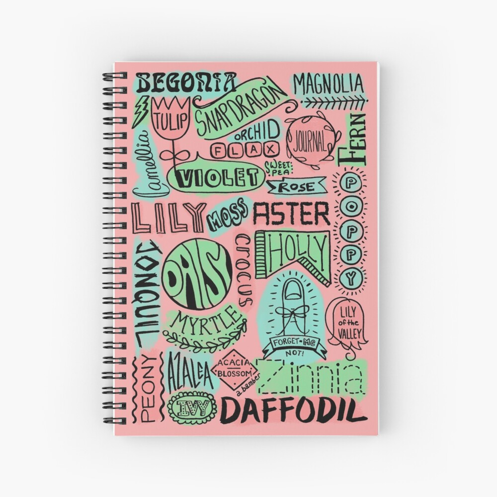The Language of Flowers - Lettering Spiral Notebook