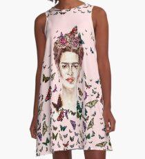 Frida Kahlo Flowers Butterflies A-Line Dress