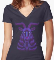 Space Goat Women's Fitted V-Neck T-Shirt