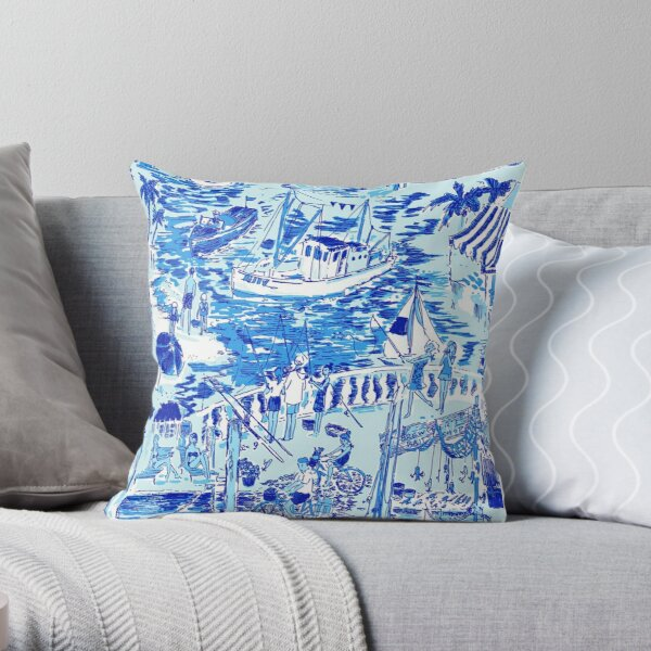 The Blue Lily Sea Throw Pillow
