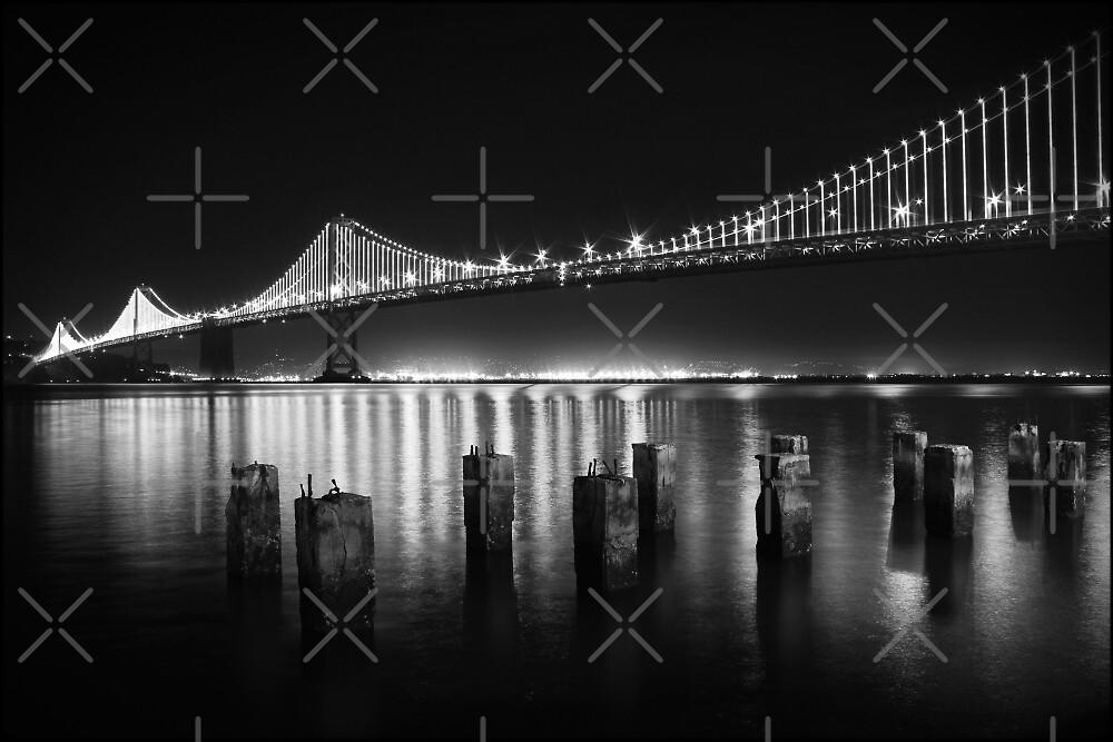 San Francisco Bay Bridge Illuminated BW by Jenn Ramirez