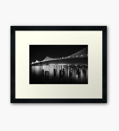 San Francisco Bay Bridge Illuminated BW Framed Print