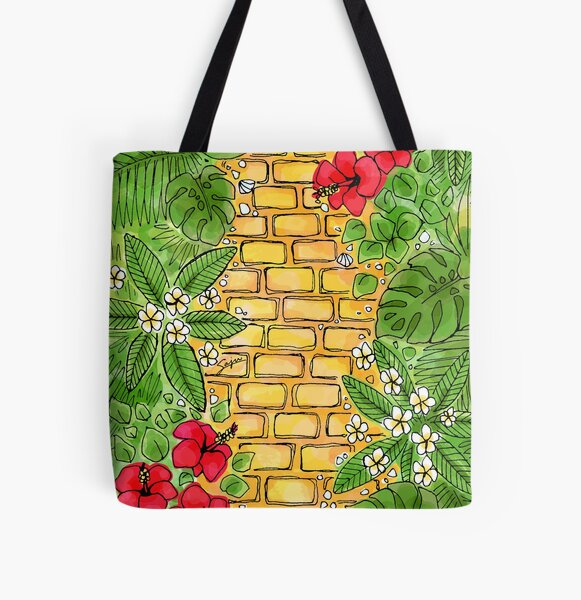 Yellow Brick Road Aloha - Find joy in the journey, your freedom, challenge, in tropical climate All Over Print Tote Bag