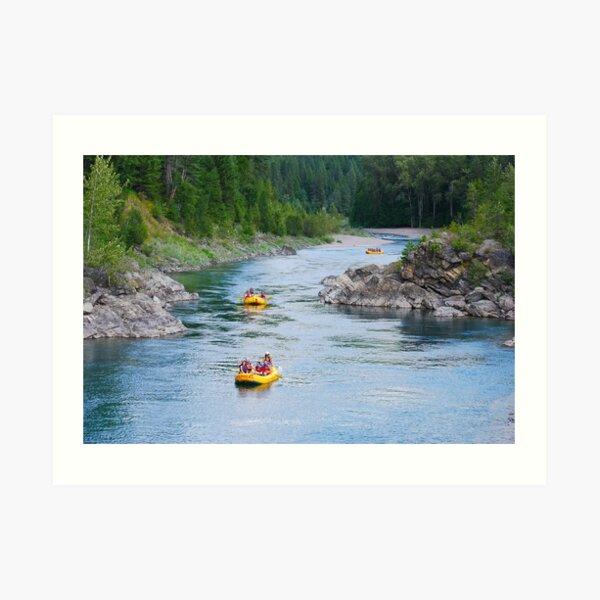 Rafting down the river Art Print