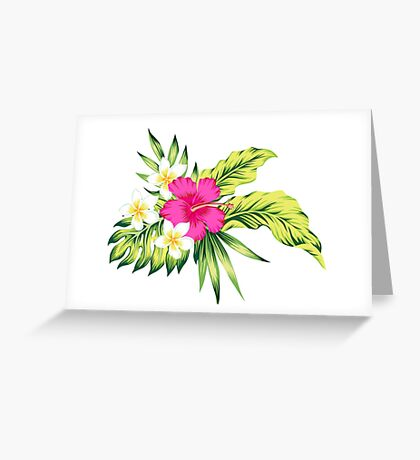 Hot Pink Hibiscus & Tropical Flowers Greeting Card