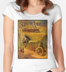 """SCIENTIFIC AMERICA"" Vintage Grand Prix Advertising Print Women's Fitted Scoop T-Shirt"