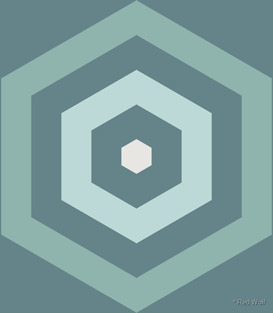 Geometric Pattern: Hexagon Hive: Seafoam by * Red Wolf