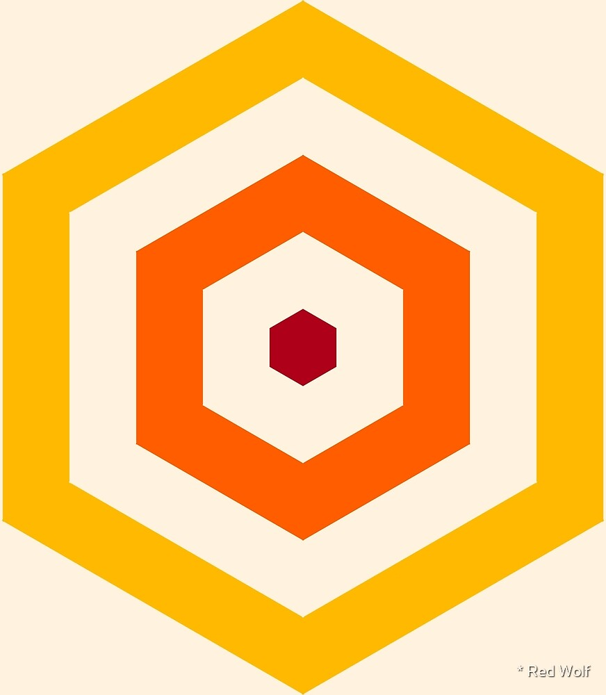 Geometric Pattern: Hexagon Hive: Sunset by * Red Wolf