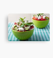 Vegetable vegetarian salad with raw tomato and cucumber Canvas Print