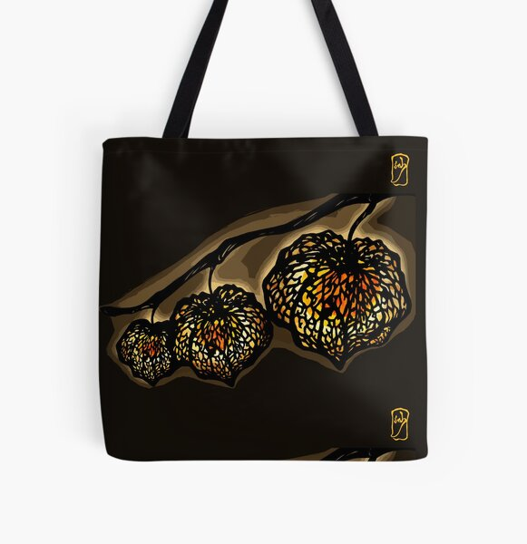 Chinese Lantern Plant /Night - Warm orange light in nature All Over Print Tote Bag
