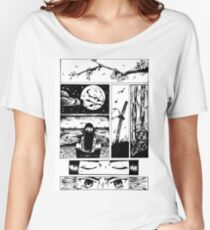 Moon Samurai Manga Print Women's Relaxed Fit T-Shirt