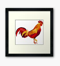 Red fire rooster in paper cut style. Framed Print
