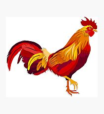 Red fire rooster in paper cut style. Photographic Print