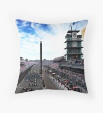 """Indianapolis 500 Start collage """"Back home again in Indiana"""" Throw Pillow"""