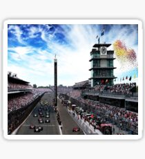"Indianapolis 500 Start collage ""Back home again in Indiana"" Sticker"