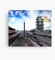 """Indianapolis 500 Start collage """"Back home again in Indiana"""" Metal Print"""