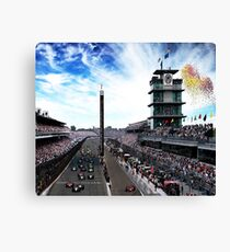 """Indianapolis 500 Start collage """"Back home again in Indiana"""" Canvas Print"""