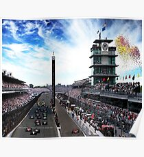 "Indianapolis 500 Start collage ""Back home again in Indiana"" Poster"