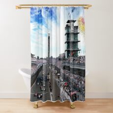 "Indianapolis 500 Start collage ""Back home again in Indiana"" Shower Curtain"